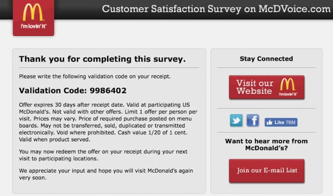 mcdvoice survey program